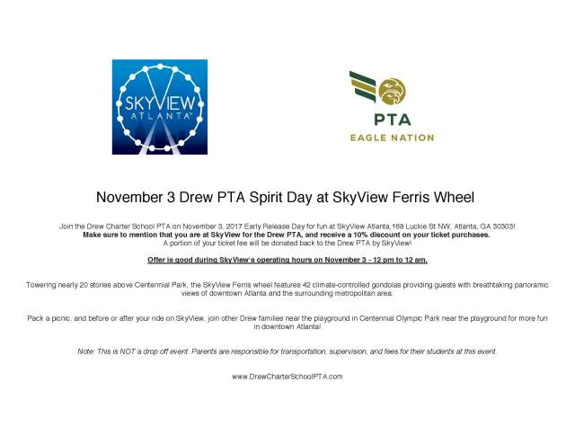 November 3 Drew PTA Spirit Day at SkyView Ferris Wheel Horizontal